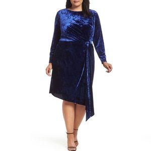 Maggy London Plus Size 16W Blue Velvet Dress NWT